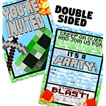 12ct Brights Laser Tag Party Supplies 12 Envelopes 12 Invitations Laser Tag Party Supplies Double Sided POP parties Laser Tag Brights Invitations