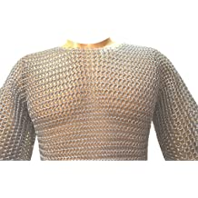 Chainmail Leather Gauntlet Butted Black Leather Chain Mail Glove ABS