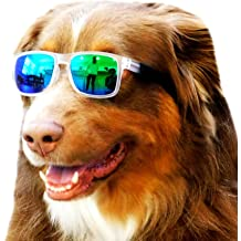 Style Vault G013 Pet Dog Square Sports Sunglasses Goggles w Retainer Strap for Medium Breeds 20-40lbs Sports White-Gold Mirror