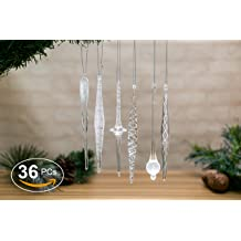 """24-6/"""" /& 12-10/"""" Glass Icicles 36 Christmas Ornaments"""