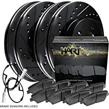For 2011-2015 Mini Cooper Front Black Drill Slot Brake Rotors+Ceramic Brake Pads