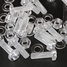 Pack of 60 Transparent Clear Plastic Acrylic Thumbscrews 13//64 x 1 slotted+knurled M5 x 25mm
