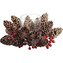 Allstate 14 Inch Faux Berry and Cedar Candle Ring with Glass Hurricane Christmas Pillar Candle Holder