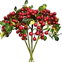 74cm 1PC Xmas Red Berry Holly Leaves Branch Artificial Flower Pick Decor Pretty