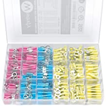 Electrical Insulated Terminals Kit Electop 270 PCS Heat Shrink Wire Connectors Marine Automotive Crimp Connector Assortment Set Ring Fork Hook Spade Butt Splices