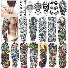 09273b863 Full Arm Temporary Tattoo, Konsait Extra Temporary Tattoo Black tattoo Body  Stickers for Man Women